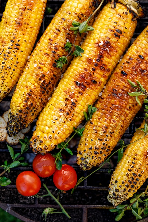 Grilled Corn On The Cob. Grilled Corn On The Grill Plate, Top Vi
