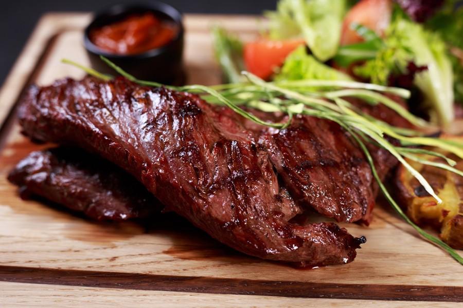 Juicy Medium Rare Skirt Steak, Hanging Tender Steak Served With