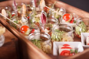 Buffet catering, on the wooden table, restaurant