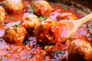 Pan with meat balls in tomato sauce, close-up